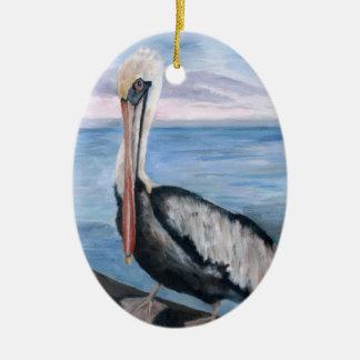 Stolze Pelikan-Verzierung Ovales Keramik Ornament