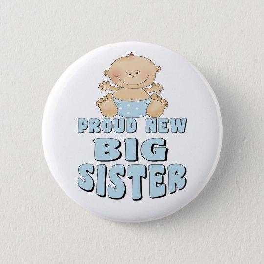 Stolzer neuer große Schwester-Junge Runder Button 5,7 Cm