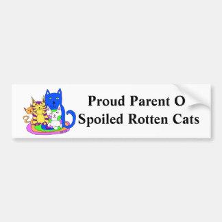 Stolzes Elternteil der verdorbenen faulen Katzen Autoaufkleber