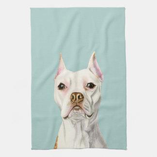 """""""Stolzes und hohes"""" weißes Pitbull-Hundeporträt Geschirrtuch"""