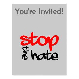 Stoppen Sie den Hass Postkarte