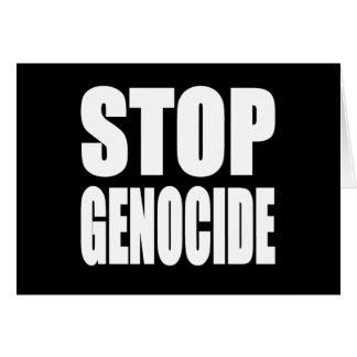 Stoppen Sie Genozid. Protestieren Sie Mitteilung Grußkarte