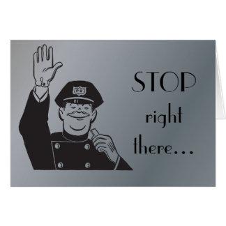 Stoppen Sie Polizist-Polizei-glücklichen Jahrestag Karte