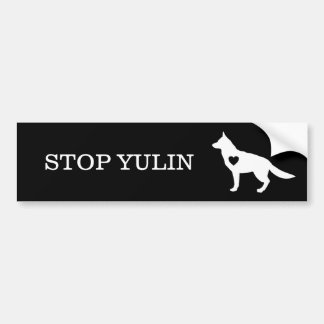 """STOPPEN Sie YULIN"" Tierbewusstseins-Autoaufkleber Autoaufkleber"