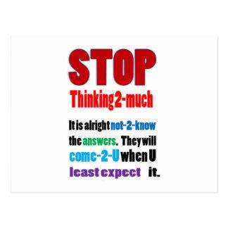 STOPPEN Sie, zu viel zu denken: Klugheit Postkarte