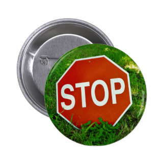 Stoppschildknopf Runder Button 5,7 Cm