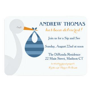 Storch-Baby-Einladung/Baby-Mitteilung 12,7 X 17,8 Cm Einladungskarte