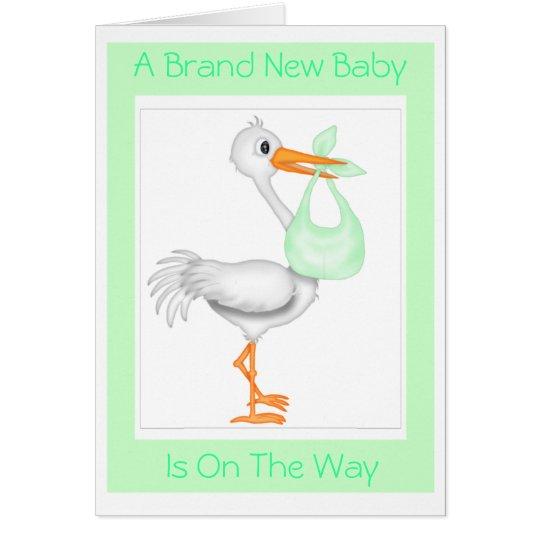 Storch-Babyparty-Karte (Unisex) Grußkarte