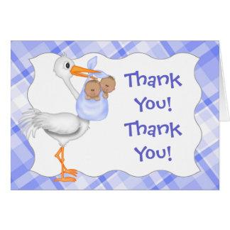 Storch u. Doppeljungen (dunkle Haut) danken Ihnen Karte