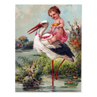 Storch und Baby ab 1909 Postkarte