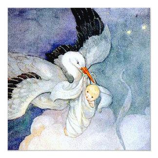Storch und Baby kundengerecht Quadratische 13,3 Cm Einladungskarte