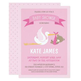 Storch-und Bärn-rosa Babyparty-Einladung Karte