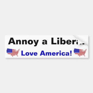 Stören Sie einen Liberalen - Liebe Amerika! Autoaufkleber