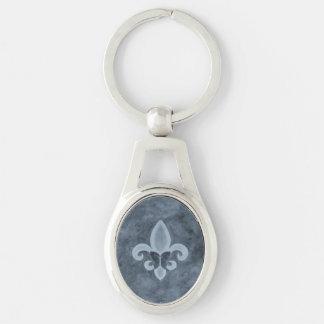 Störrisches stilvolles Denim-blauer Silberfarbener Oval Schlüsselanhänger