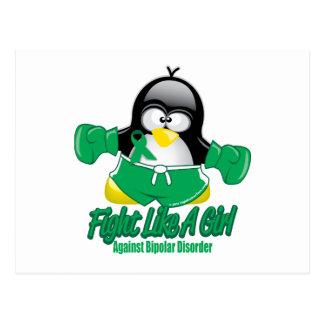 Störungs-kämpfender Pinguin Postkarte