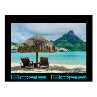 Strand auf Bora Bora schwarzer Grenzpostkarte Postkarte