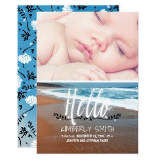 Strand-Baby-Geburts-Foto-Mitteilung hallo Karte