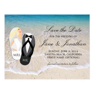 "Strand-blonder ""Herr und Frau"", die Save the Date Postkarte"