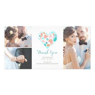 Strand-danken Küstenseeherz-Hochzeit Ihnen Individuelle Fotokarte