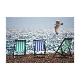 Strand   deckchairs gespannte galeriedrucke