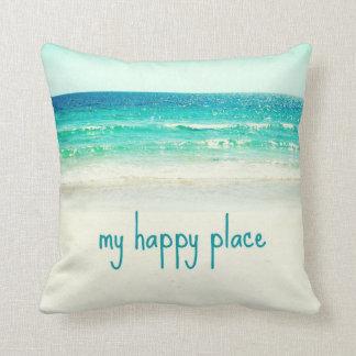 Strand-glückliches Platz-Wort-Kissen Kissen