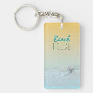 Strand-Haus-Ozean-Wellen-Mietschlüsselring Schlüsselanhänger