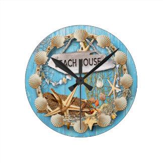 Strand-Haus Runde Wanduhr