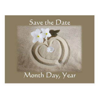 Strand-Herz im Sand - Save the Date Wedding Postkarte
