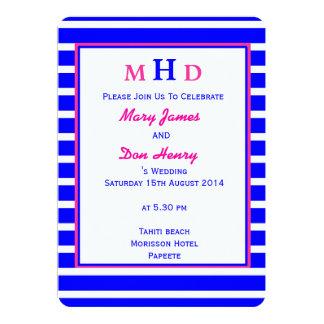 Strand-Hochzeit blau und rosa 12,7 X 17,8 Cm Einladungskarte