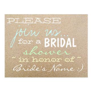 Strand-Hochzeit/Brautparty Einladungs-im Sand Postkarte