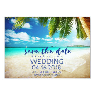 Strand-Hochzeit Johannes, USVI Save the Date Karte
