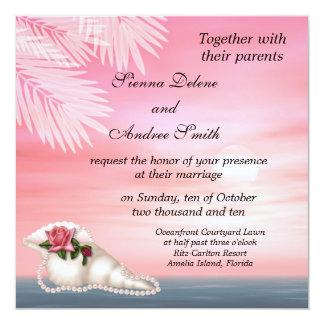 Strand-Hochzeit Quadratische 13,3 Cm Einladungskarte
