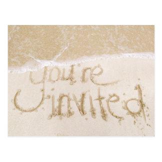 Strand-Hochzeits-Brautparty-Einladung--Sand u. Postkarte
