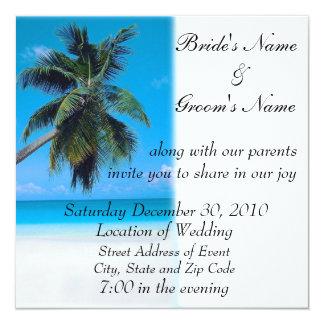 Strand-Hochzeits-Einladung Quadratische 13,3 Cm Einladungskarte