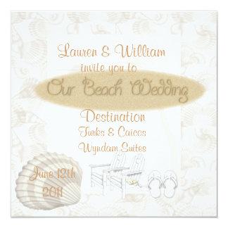 Strand-Hochzeits-Einladungen Templated Quadratische 13,3 Cm Einladungskarte
