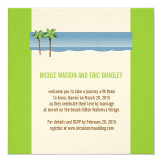 Strand-Hochzeits-Einladungs-Palme-Creme-Grün Quadratische 13,3 Cm Einladungskarte