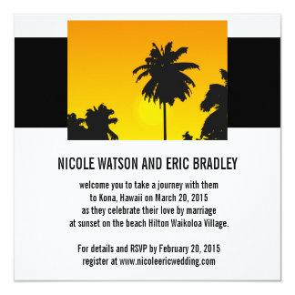 Strand-Hochzeits-Einladungs-Sonnenuntergang-Palmen Quadratische 13,3 Cm Einladungskarte