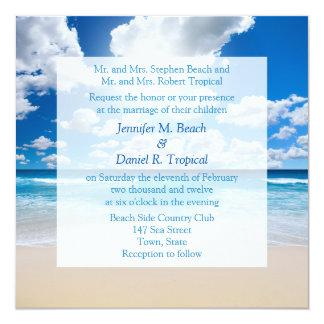 Strand-Hochzeits-Einladungs-tropische Hochzeit Quadratische 13,3 Cm Einladungskarte