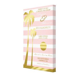 Strand-Hochzeits-GoldGlitter-Palme-rosa Streifen Leinwanddruck