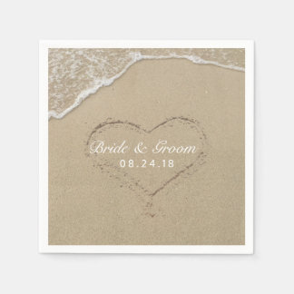 Strand-Hochzeits-Herz im Sand-Sommer Papierservietten