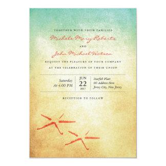Strand-Hochzeits-Paare der 12,7 X 17,8 Cm Einladungskarte