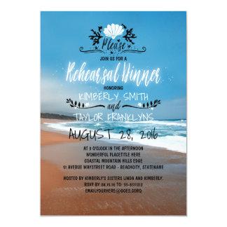 Strand-Hochzeits-Proben-Abendessen Karte