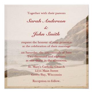 Strand-Hochzeits-Quadrat-Einladung - felsiger Quadratische 13,3 Cm Einladungskarte