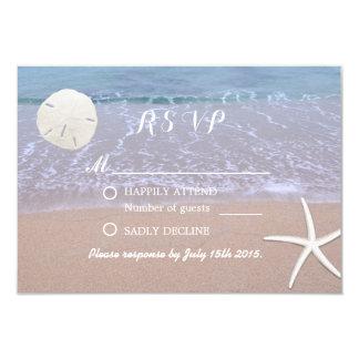 Strand-Hochzeits-Sand-Dollar u. Starfish-Antwort 8,9 X 12,7 Cm Einladungskarte