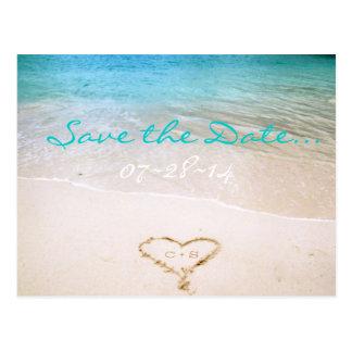 Strand-Hochzeits-Save the Date Postkarte
