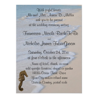 Strand-Hochzeits-Seepferd 16,5 X 22,2 Cm Einladungskarte