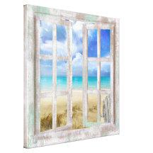 Strand in der KüstenHütte des offenen Fensters
