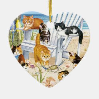 Strand-Kätzchen-Herz-Verzierung Keramik Ornament