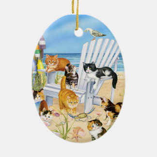 Strand-Kätzchen-Oval-Verzierung Ovales Keramik Ornament
