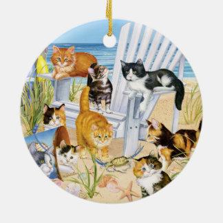 Strand-Kätzchen-runde Keramik-Verzierung Rundes Keramik Ornament